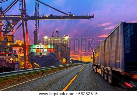Truck In Port poster