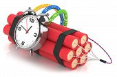 stock photo of time-bomb  - Time bomb isolated on white background - JPG