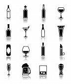 stock photo of liquor bottle  - Alcohol drinks bottles and glass icons black set of beer can martini liquor isolated vector illustration - JPG