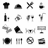 picture of restaurant  - Restaurant food cooking and serving black and white icons set isolated vector illustration - JPG