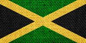 stock photo of jamaican  - flag of Jamaica or Jamaican banner on linen background - JPG
