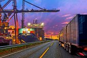 picture of ship  - Truck transport container on the road to the port - JPG