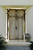 picture of front door  - An antique wood front door for a Mexican house - JPG