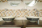 stock photo of bathroom sink  - Decorative modern style interior design of a bathroom - JPG