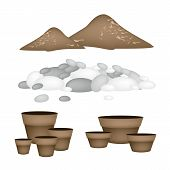 image of plant pot  - Illustration of Ceramic Flower Pots or Clay Plant Pots with Pebbles and Potting Soil for Growing Plants Herbs and Vegetables - JPG