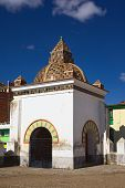 pic of senora  - Small chapel on the courtyard of the Basilica of Our Lady of Copacabana in the small tourist town of Copacabana along Lake Titicaca in Bolivia - JPG