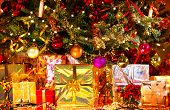 image of christmas-eve  - Decorated Christmas tree with various gifts - JPG