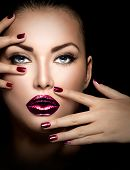 stock photo of nail  - Fashion model girl face - JPG