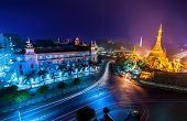 picture of yangon  - Night view of Yangon cityscape with famous Buddhist shrine Sule pagoda - JPG