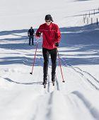 stock photo of nordic skiing  - cross country skiing - JPG