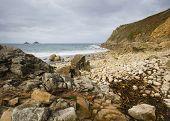 foto of dinosaur-eggs  - beach at Porth Nanven Cove near Lands End in Cornwall - JPG