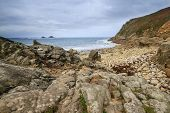 image of dinosaur-eggs  - beach at Porth Nanven Cove near Lands End in Cornwall - JPG