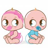 image of twin baby girls  - Illustration of two cute babies - JPG