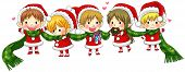 stock photo of elf  - Cute Christmas elves tie together with a long scarf in a concept of greeting and happiness create by vector - JPG