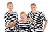 pic of conscript  - Group of smiling young men in striped shirt isolated on white background - JPG