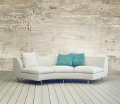 foto of 3d  - 3D Rendering of White Couch Furniture on Cozy Living Room with Unfinished Wall Background Design and Wooden Floor - JPG