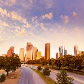 picture of highrises  - Houston skyline at sunset from Allen Pkwy Texas USA US America - JPG