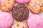stock photo of sprinkling  - Marshmallow Cookies With Colorful Sugar Sprinkles Close Up - JPG