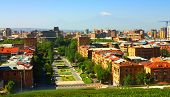 stock photo of armenia  - Yerevan city views from the mountain top - JPG