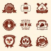 foto of flavor  - Chocolate premium quality natural cocoa best flavor ice cream labels set isolated vector illustration - JPG