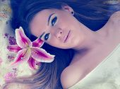 image of lilly  - beautiful woman with lilly flower - JPG
