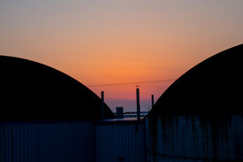 foto of biogas  - a big bavarian biogas plant at sundown - JPG