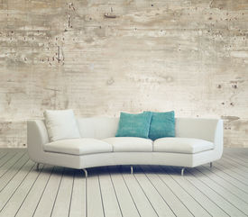 foto of couch  - 3D Rendering of White Couch Furniture on Cozy Living Room with Unfinished Wall Background Design and Wooden Floor - JPG