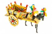 image of paint horse  - Folkloristic traditional sicilian horse cart isolated over a white background - JPG