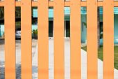 image of wooden fence  - wooden fence with blur background - JPG