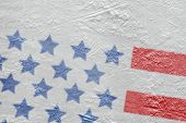 image of hockey arena  - Fragment of the image of the American flag on a hockey rink - JPG