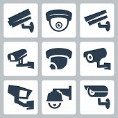 stock photo of cctv  - CCTV cameras vector icons set over white - JPG