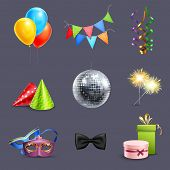 picture of party hats  - Realistic celebration icons set with balloons party ball and holiday gift boxes isolated vector illustration - JPG