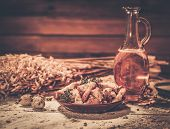 stock photo of crust  - Homemade dried crusts in wooden interior - JPG