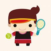 picture of badminton player  - badminton player theme elements - JPG