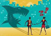 stock photo of clever  - Great illustration of a businessman who is exposed as a shark in real life by a clever businesswoman who sees right through his clever disguise - JPG