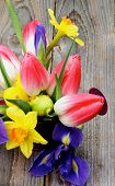 stock photo of purple iris  - Bunch with Yellow Daffodils Magenta Tulips Purple Irises in Watering Can with Colored Easter Eggs closeup on Wooden background - JPG