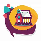 pic of gingerbread house  - Gingerbread House Flat Icon With Long Shadow - JPG