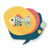 stock photo of long-fish  - Pet Fish Flat Icon With Long Shadow - JPG
