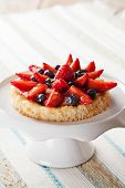 foto of custard  - Homemade dacquoise tartlete with custard and berries - JPG