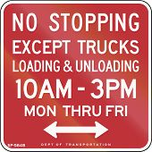 stock photo of truck-stop  - US traffic sign - JPG