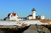 stock photo of lighthouse  - Eastern Point Lighthouse in winter - JPG