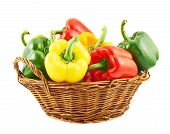 picture of yellow-pepper  - Wicker basket full of sweet green - JPG