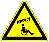 picture of disabled person  - Concept sign to grant people with disabilities equal job opportunities - JPG