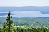 stock photo of ural mountains  - Photo of a Mountainous lake Zyuratkul in Russia - JPG