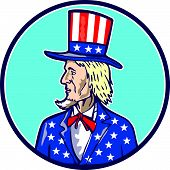 picture of uncle  - Illustration of Uncle Sam wearing hat with stars and stripes American flag viewed from side set inside circle on isolated background done in cartoon style - JPG