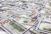 stock photo of 100 dollars dollar bill american paper money cash stack  - Hundred dollars banks note money as a background - JPG