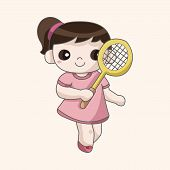 pic of badminton player  - badminton player theme elements - JPG