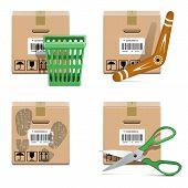 image of boomerang  - Vector Shipment Icons Set 33 with carton box - JPG