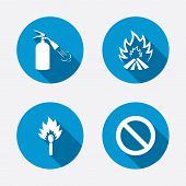 image of fire extinguishers  - Fire flame icons - JPG