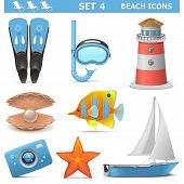 pic of flipper  - Vector Beach Icons Set 4 including camera - JPG